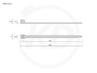 Kabelbinder außenverzahnt 4,8 x 200 mm, schwarz