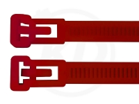 7,5 x 370 mm Kabelbinder, wiederlösbar, rot 100 Stück
