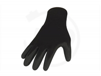 Polyesterhandschuhe mit Latexbeschichtung, schrumpfgeraut, schwarz, Gr. 8