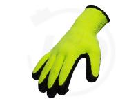 Baumwollhandschuhe mit Latexbeschichtung, robust, gelb/schwarz, Gr. 10