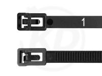 7.8 x 300 mm Kabelbinder wiederlösbar mit Nummerierung, schwarz