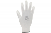 Polyesterhandschuhe mit PU-Beschichtung, weiß, Gr. 6