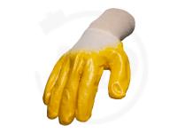 Baumwollhandschuhe mit Nitrilbeschichtung, gelb, Gr. 10
