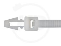 4.8 x 200 mm Kabelbinder mit Steckfuß, natur, 100 Stück