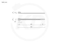 3,6 x 140 mm Kabelbinder, schwarz 100 Stück