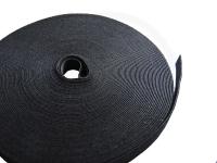 Klettbandrolle, schwarz, 10 mm x 25 Meter