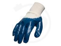 Baumwollhandschuhe mit Nitrilbeschichtung, blau, Gr. 9