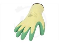 Polyesterhandschuhe mit Latexbeschichtung, gelb/grün, Gr. 10