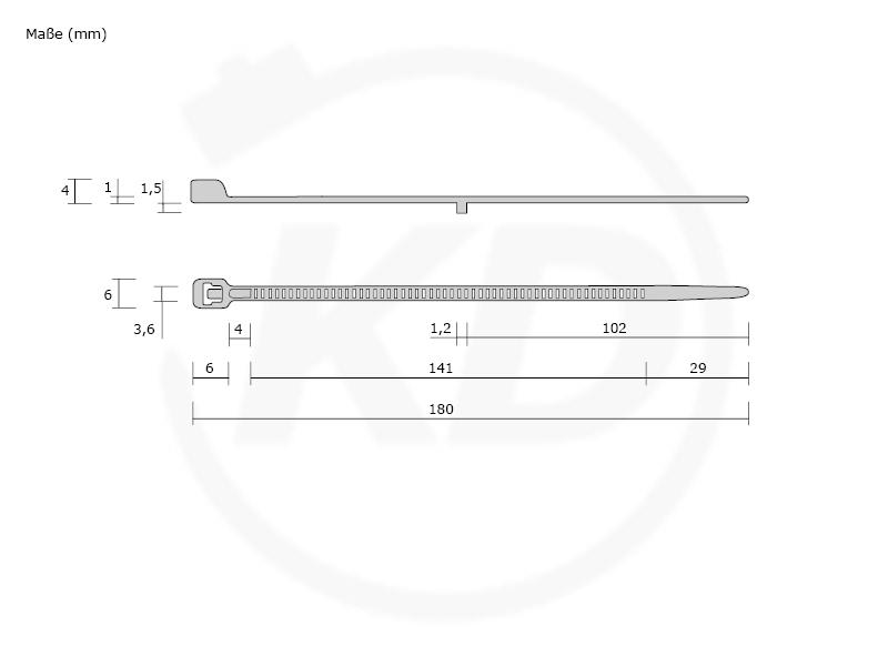 kabelbinder mit stopper 3 6 x 180 mm schwarz kabelbinder discount industriequalit t zum. Black Bedroom Furniture Sets. Home Design Ideas