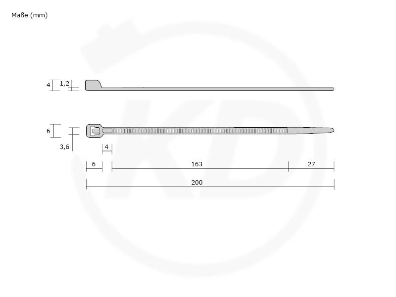 Kabelbinder 2,6x200 mm in SCHWARZ 200 Stück