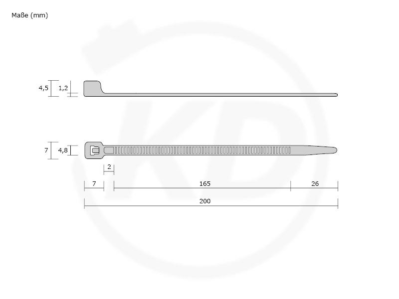 Kabelbinder farbig in Industriequalität 4,8x200 mm in Rot 100 Stück