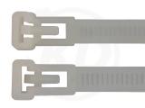 7,5 x 200 mm Kabelbinder, wiederlösbar, natur 100 Stück