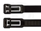 7,5 x 370 mm Kabelbinder, wiederlösbar, schwarz 100 Stück
