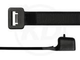 12,6 x 730 mm Kabelbinder, wiederlösbar, schwarz 100 Stück