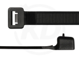 12,6 x 1000 mm Kabelbinder, wiederlösbar, schwarz 100 Stück