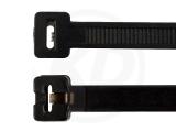 4.5 x 360 mm Kabelbinder mit Metallzunge, schwarz, 100 Stück