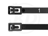 7.8 x 300 mm Cable ties releasable, numbered, black