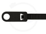 Kabelbinder mit Befestigungsöse, 4,8 x 200 mm, schwarz, 100 Stück